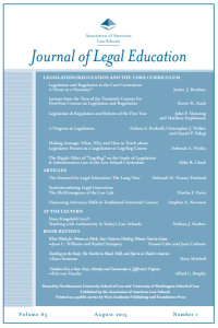 Journal of Legal Education August 2015 cover