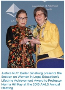 Justice Ruth Bader Ginsburg presents the Section on Women in Legal Education's Lifetime Achievement Award to Professor Herma Hill Kay at the 2015 AALS Annual Meeting
