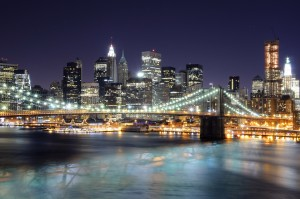 Lower Manhattan at Night from Manhattan Bridge by Andrew Mace