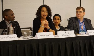 Panelists at an Arc of Career panel discuss scholarly engagement post tenure. (R-L) Bennett Capers, Brooklyn Law School; L. Song Richardson, University of California, Irvine School of Law; Usha R. Rodrigues, University of Georgia School of Law; and Stephen I. Vladeck, American University, Washington College of Law.