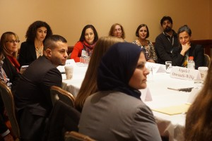 Law professors gather in a discussion group on author diversity in legal scholarship.