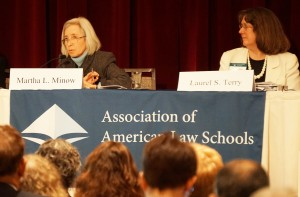 """Martha L. Minow, Harvard Law School, and Laurel S. Terry, The Pennsylvania State University – Dickinson Law, address audience members during the AALS President's Program: """"Challenges Facing the Legal Profession and Strategies to Address Them."""""""