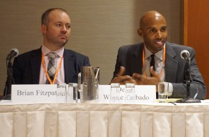 Panelists discuss the U.S. Supreme Court and Affirmative Action. L-R: Brian Fitzpatrick, Vanderbilt University Law School and AALS Executive Committee Member Devon Wayne Carbado, UCLA School of Law.