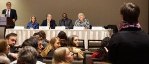 (L-R) Michael E. Waterstone, Loyola Law School, Los Angeles; AALS Executive Director Judith Areen; Bradley A. Areheart, University of Tennessee College of Law; 2015 AALS President Blake D. Morant, The George Washington University Law School; and 2016 AALS President Kellye Y. Testy, University of Washington School of Law, field a question from an audience member during a session for first-time meeting attendees.