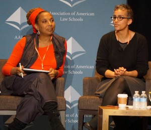 Kimberlé Crenshaw, UCLA Law with Renée Hutchins, University of Maryland Law during a Plenary Session on law school clinics and the #BlackLivesMatter movement.