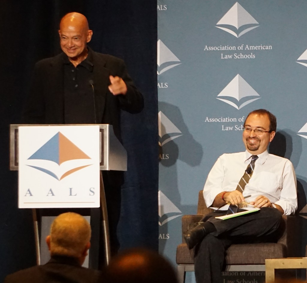 """Gerald López, University of California, Los Angeles School of Law discusses """"rebellious lawyering"""" at the Opening Keynote address with Ascanio Piomelli, University of California, Hastings College of the Law."""