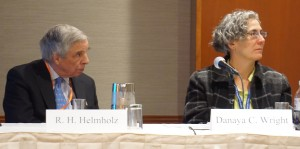 Panelists present at the Section on Legal History's 2016 Annual Meeting program on the Magna Carta. L to R: R. H. Helmholz, The University of Chicago, The Law School and Danaya C. Wright, University of Florida Fredric G. Levin College of Law.