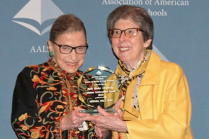 Justice Ruth Bader Ginsburg presents the Section's Lifetime Achievement Award to Herma Hill Kay at the 2015 AALS Annual Meeting.