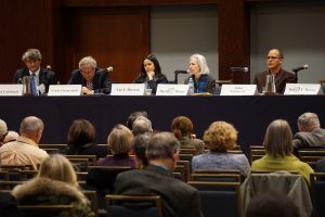 "Panelists at the AALS President's Program ""Why Law Matters: The 2017 U.S. Presidential Transition."" From left to right: Steven Calabresi, Erwin Chemerinsky, Luz Herrera, Moderator Martha Minow, and James Forman Jr."
