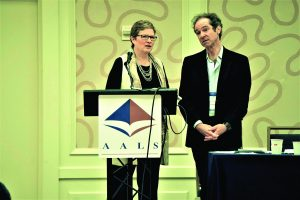 "Robin West and Pierre Schlag during the AALS Symposium: ""Why the Decline of Law and Legal Education Matters (And What We Might Do About It?)"""
