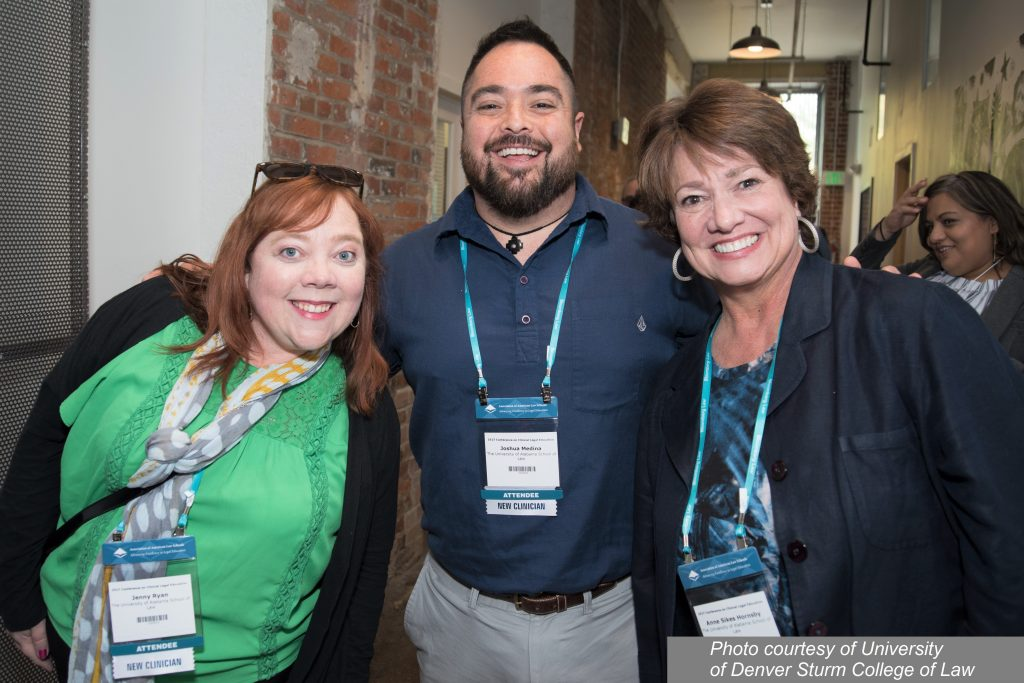 University of Alabama Law faculty Jenny Ryan, Joshua Medina and Anne Sikes Hornsby at the reception Sunday evening.