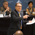 2017 New Law Teachers Plenary Session: Teaching Techniques. L-R. Howard E. Katz (Duquesne University), Gerry W. Beyer (Texas Tech), and Susan S. Kuo (U. of South Carolina).